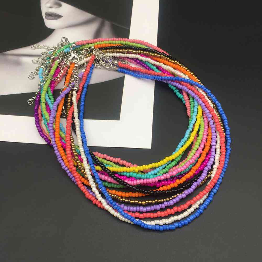 Fashion Seed Beads Stand Simple Choker Necklace