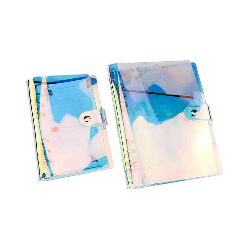 A5 A6 Pvc Rainbow Laser Transparent Notebook 6-hole Binder Notebook Clips