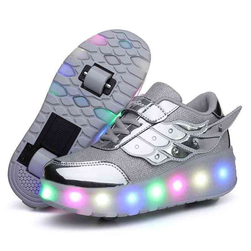 Children One Two Wheels Luminous Glowing Sneakers