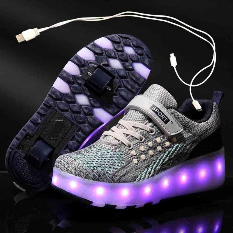Children Luminous Glowing Sneakers. Led Light Roller Skate Shoes
