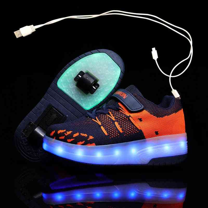 Children Glowing Sneakers. Led Light Roller Shoes