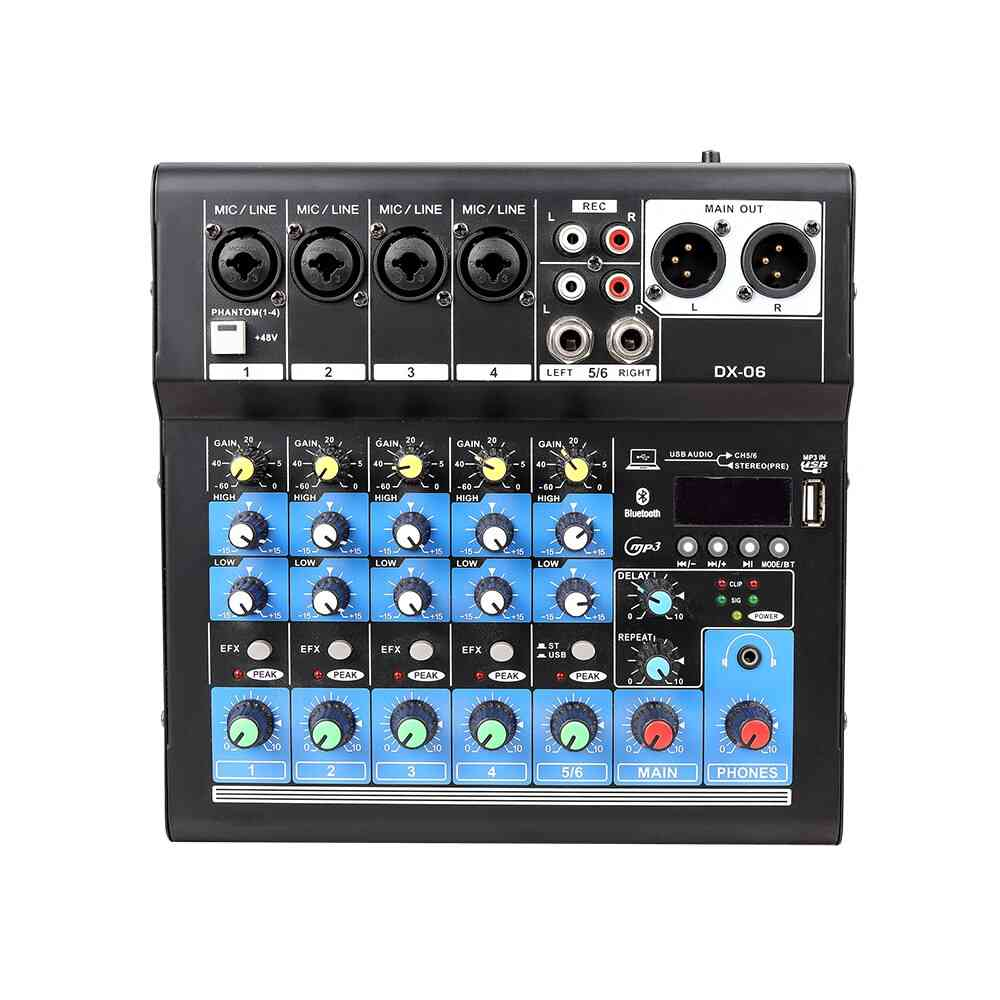 Professional Audio Mixer Sound Card Dj Mixing-console System Usb Bluetooth Interface 48v Phantom Power 4/6 Channels Music-mixer