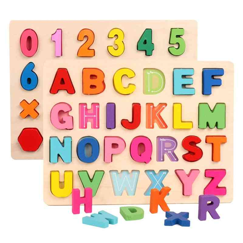 Kids Wooden 3d Alphabet Number Puzzle Baby  Letter Geometric Toy