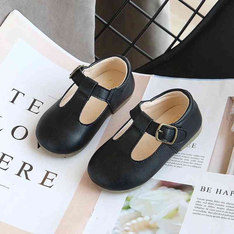 Spring Autumn Kids Shoes, T Strap Leather Shoes