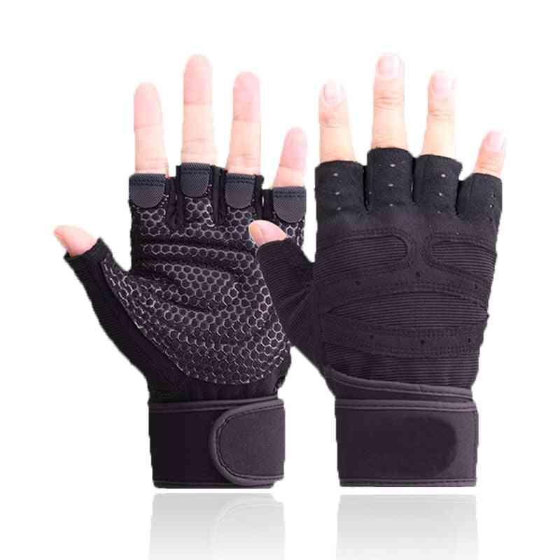 Anti-slip Half Finger Gloves Fitness Gloves For Men And Women Gym Cycling.