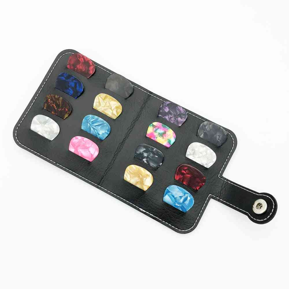 Leather Guitar Pick Holder Bag Wallet Acoustic Triangle Square