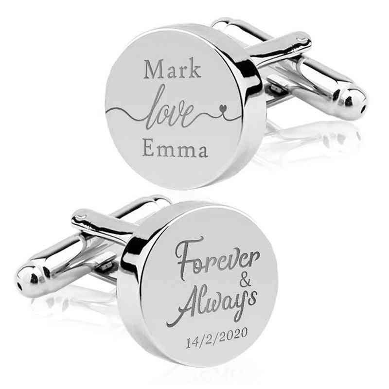 Engrave Initial Cufflinks For Wedding Birthday Stainless Steel Jewelry