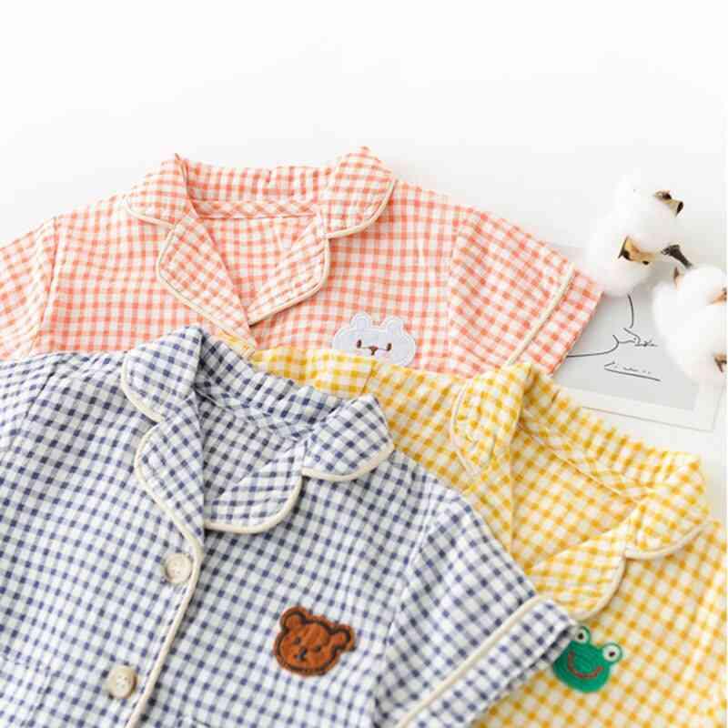 Newborn Plaid Night Wear Cartoon Short Sleeve And