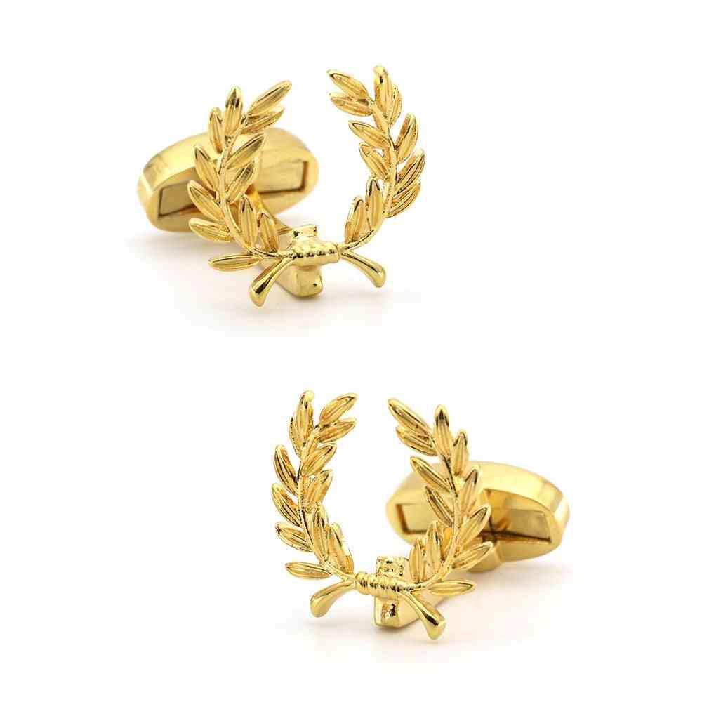 Men's Designer Brand Cufflinks Golden Color Wheat Spike Design Brass Cufflinks