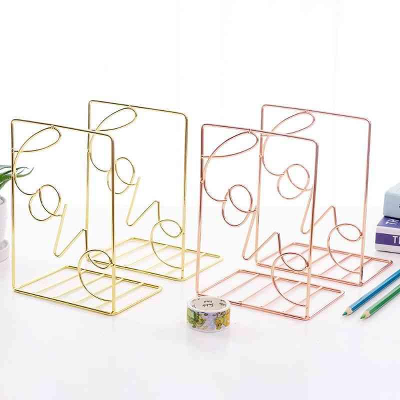 Creative Love Shaped Metal Bookends Desk Storage Holder