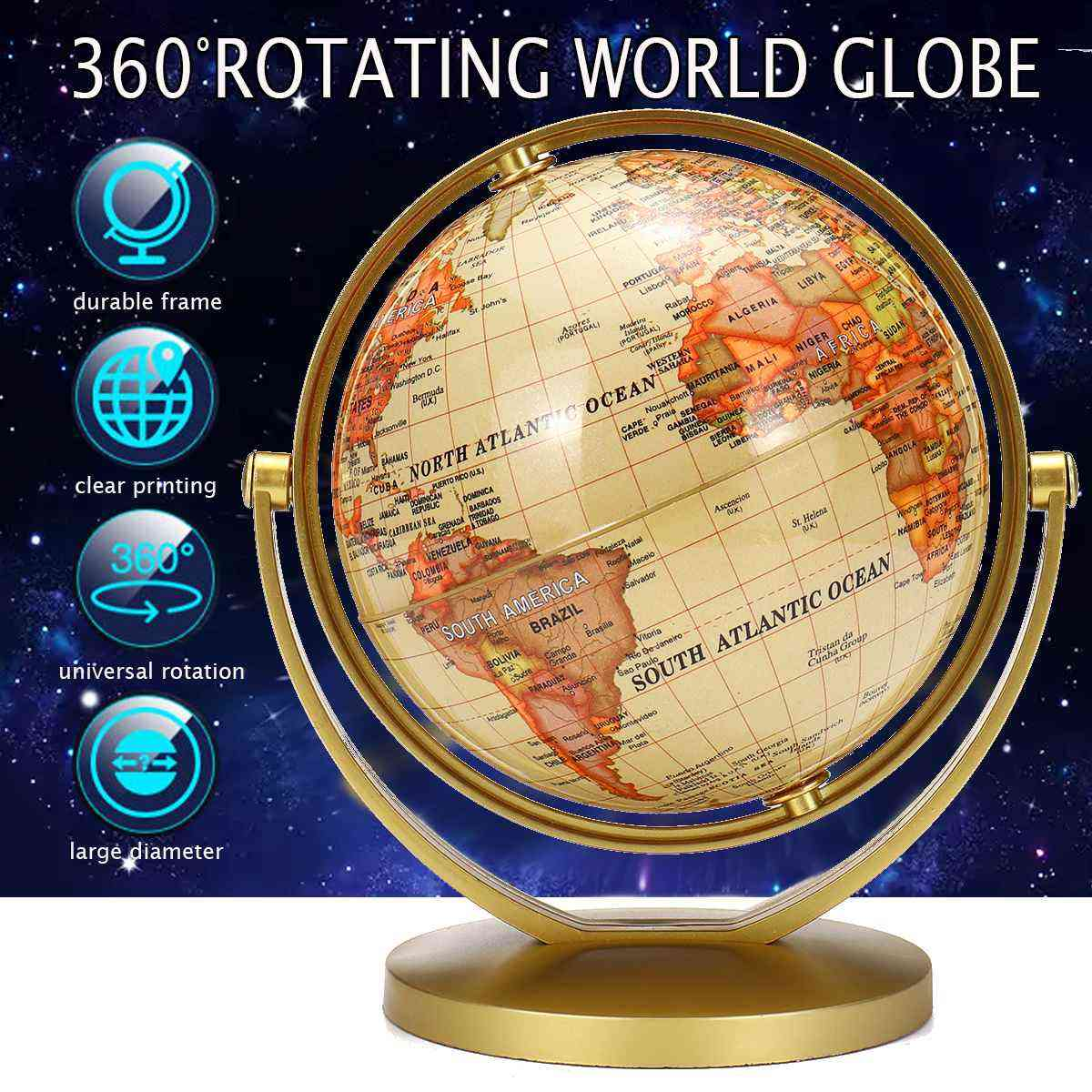Terrestrial Earth Globe World Map With Stand Geography Education Toy Ornament Kids