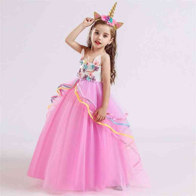 Wedding Tulle Lace Long Girl Dress, Party Christmas Dress