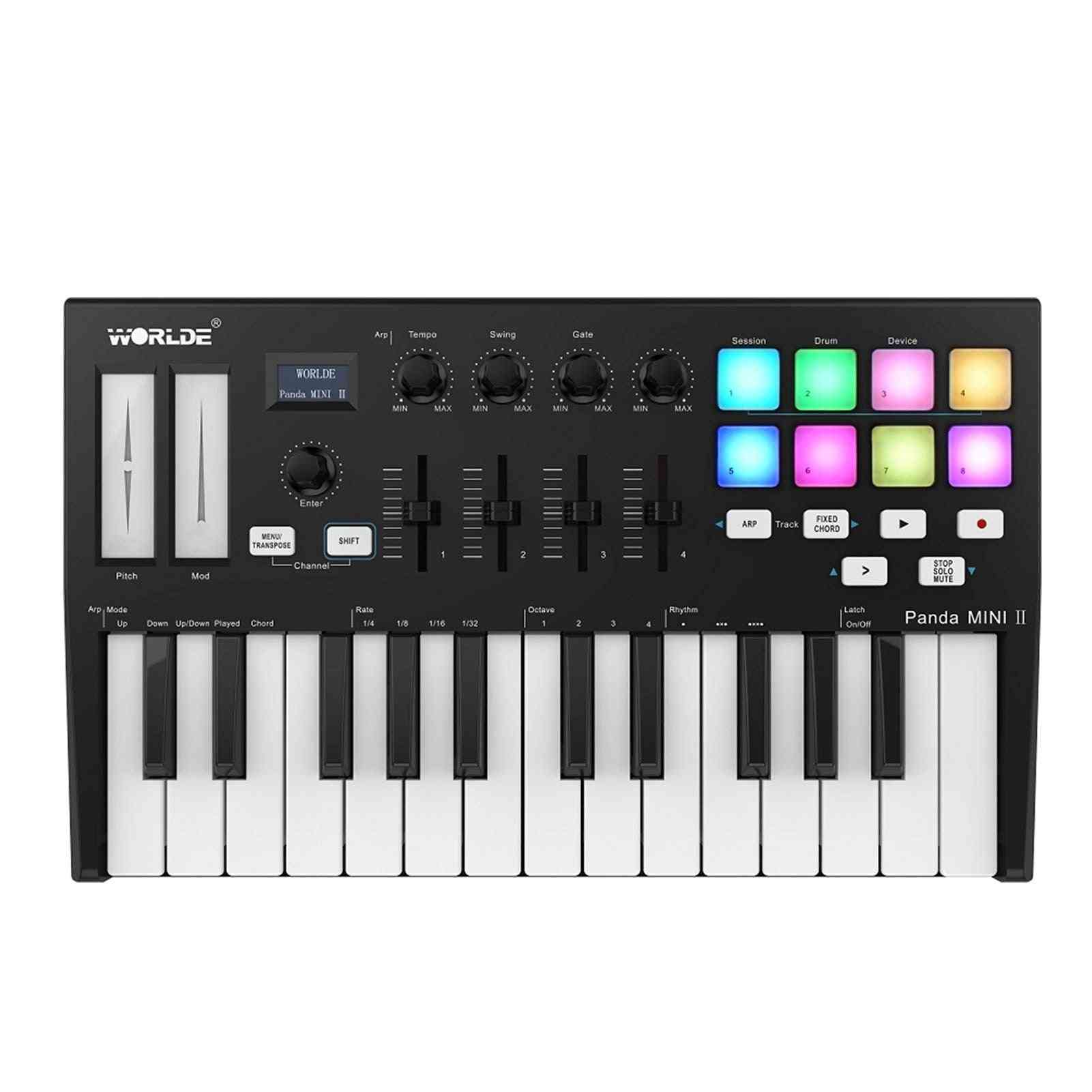 Panda Mini Ii Portable 25-key Usb Midi Keyboard Controller With 8 Rgb Backlit