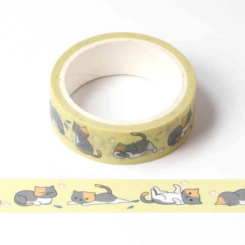 Cute Cartoon Lazy Cat Masking Washi Tape