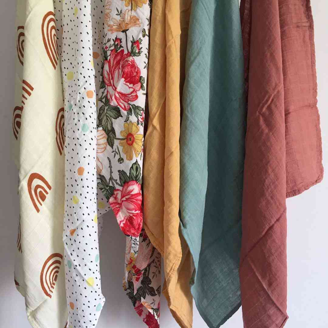 60*60cm Muslin Diapers Bamboo Cotton Baby Blankets Newborn Muslin Swaddle Burp Cloth Infinity Scarf Bib Pielucha