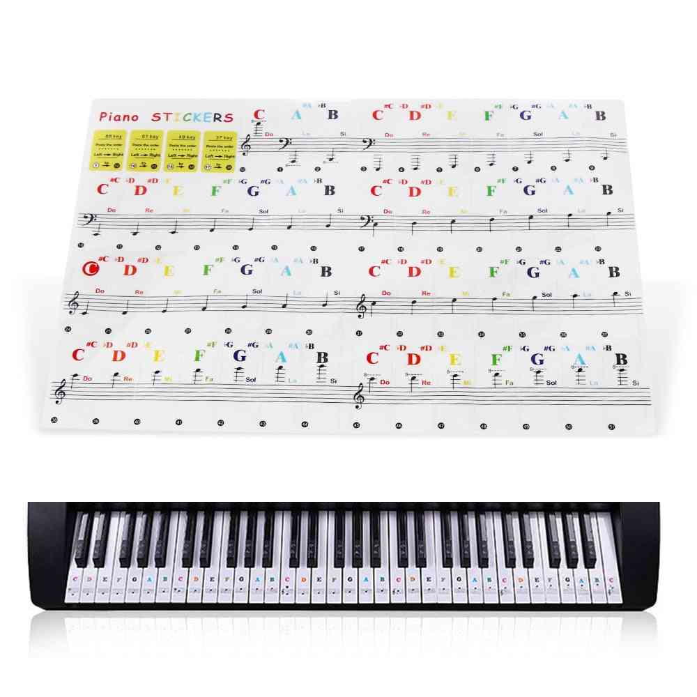 Piano Stave Note Sticker For White Keys Musical