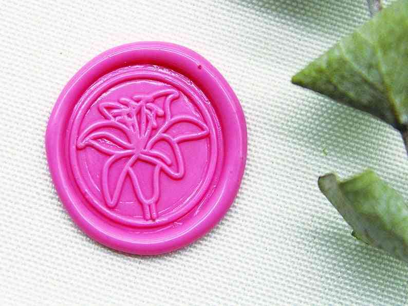 White Lily Flower Wax Seal Seal, Lily Seal