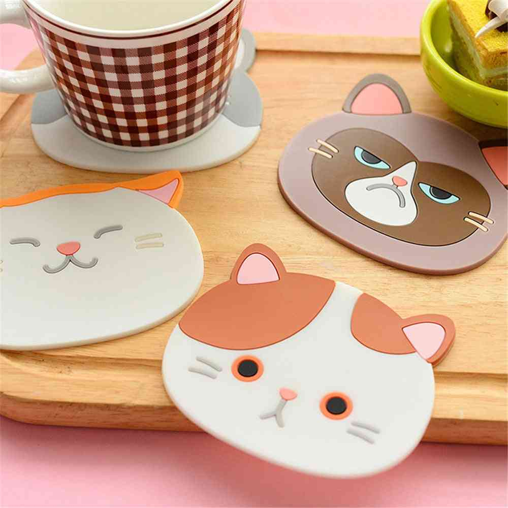 Household Heat-resistant Placemat Silicone Cat Coaster Office Desk