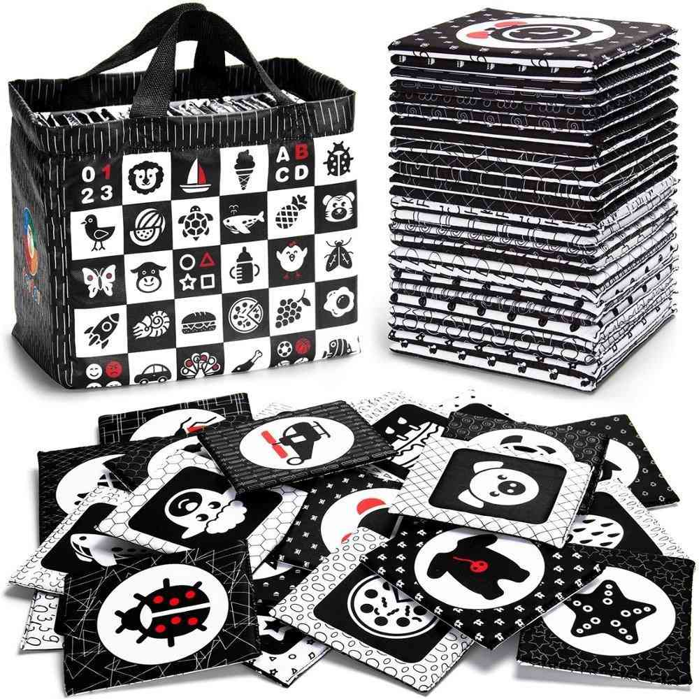 Black And White Soft Flash Cards, 26 Patterns Babies Visual Puzzle