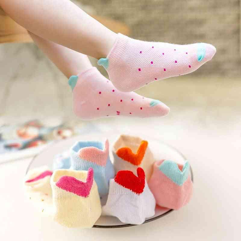 Children Girl Socks, Cartoon Mesh Ankle Socks