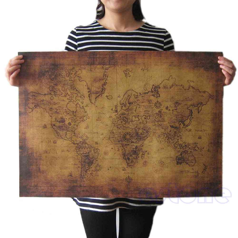 Large Vintage Style Retro Paper Poster Globe Old World Map 71x51cm