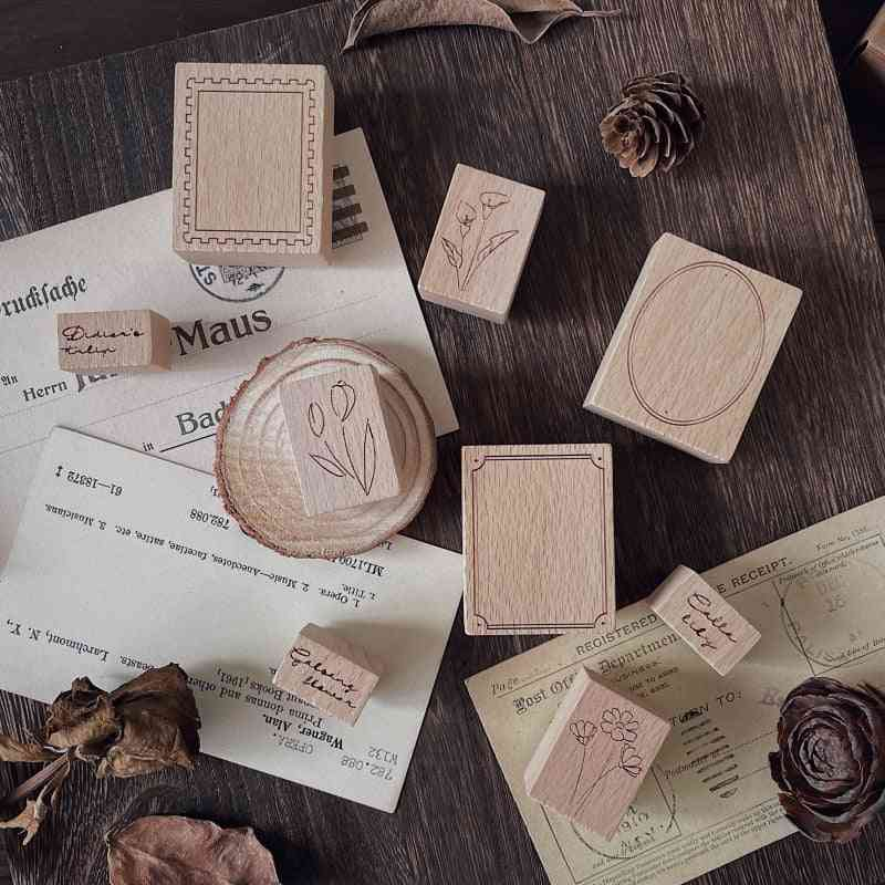 3pcs/lot Wooden Stamp Set Retro Border Ins English Flower Tulip Bullet Journaling Accessories Diy Decorative Log Seal Aesthetic