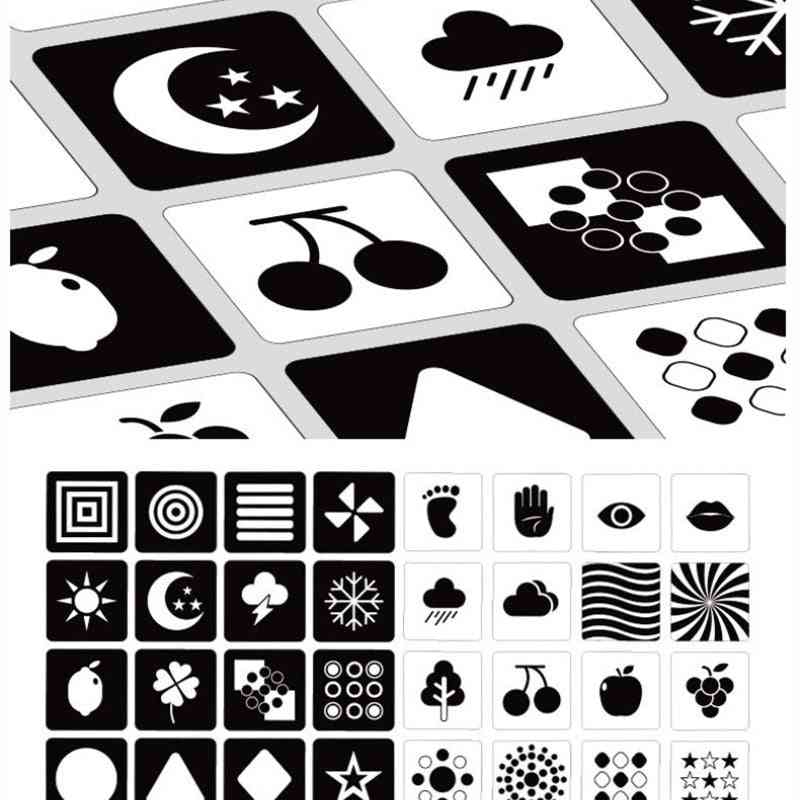 Black White Color Cards Preschool Early Educational Baby