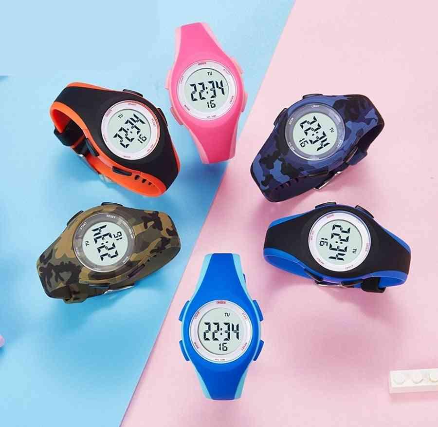 50m Waterproof Blue Silicone Electronic Wristwatch