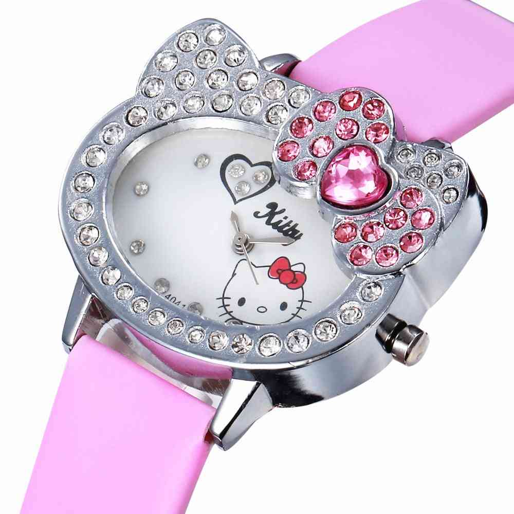 New Pink Leather Cute Baby Watch For Kids