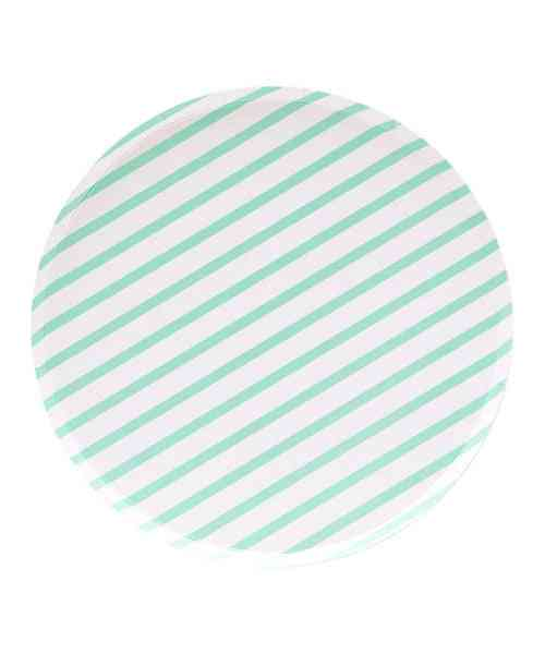 Oh Happy Day Mint Stripes Plates (large)