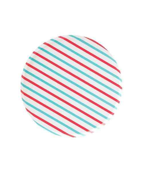 Oh Happy Day Cherry & Sky Stripes Plates (small)