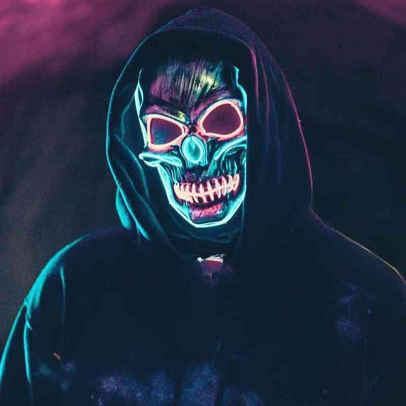 Halloween Horror Luminous Mask Led Grimace Horror Mask