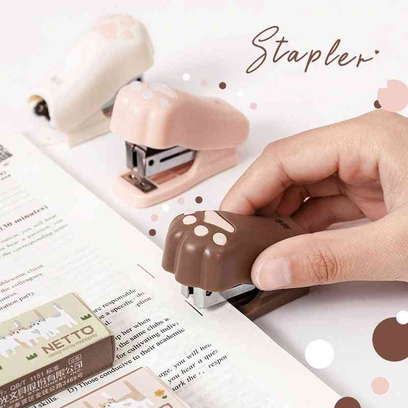 Mini Stapler Set With 1000pcs 12# Staples Cute Cat Paw Paper Binder Stationery Office Binding Tools School Supplies A6622