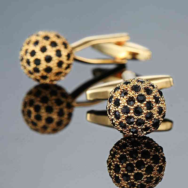 Jewelry Brand Golden Crystal Ball Cuff Link Wholesale Buttons