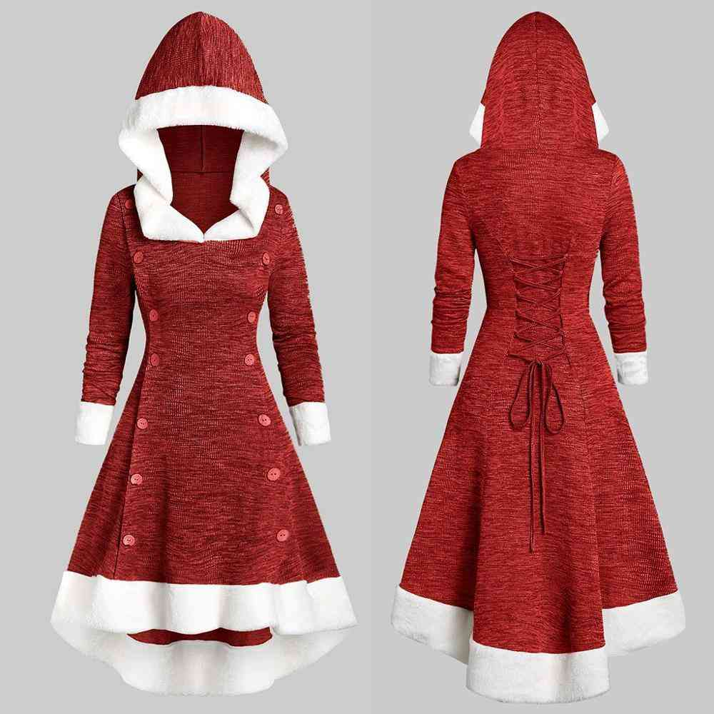 Christmas Dress Womens Long Sleeve Vintage Strappy Hooded Dress