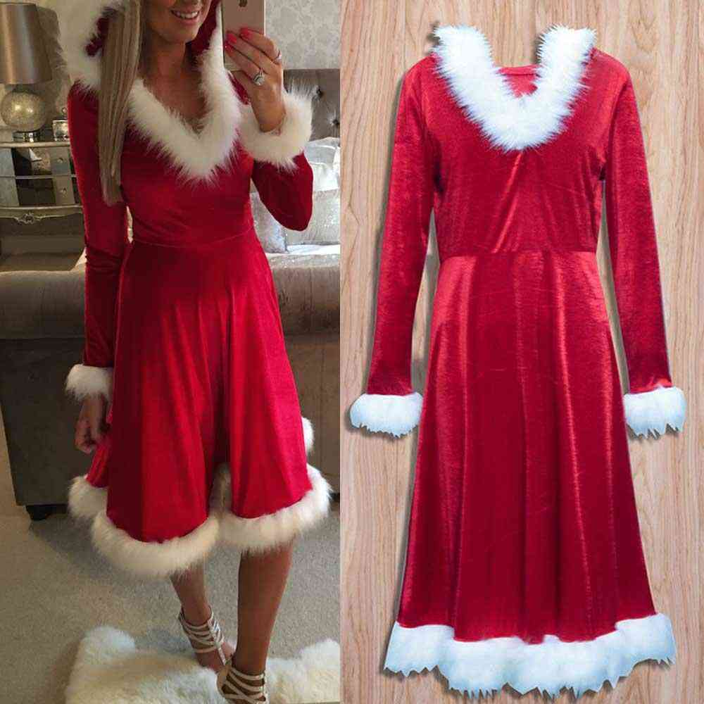 Christmas Mother Daughter Red Dress Santa Velvet Party Wdc1669
