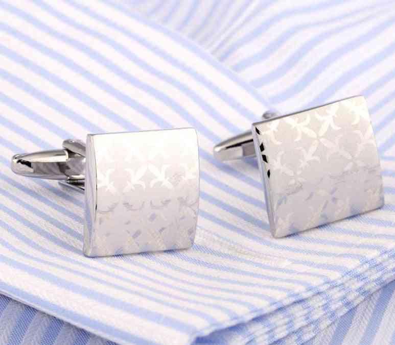 Alloy Silver Color Square Fashion Cufflinks