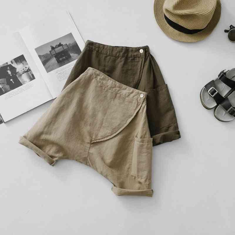 New Summer Cotton Linen Calf-length Pants