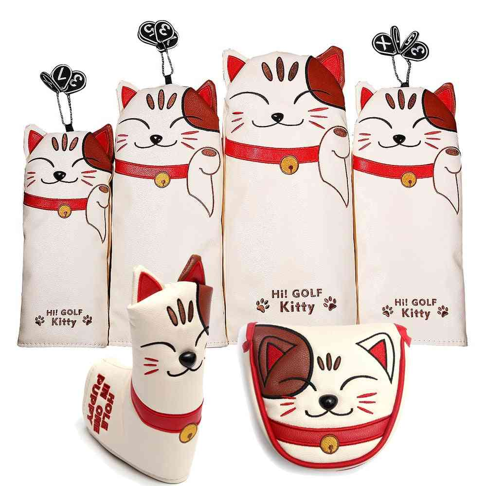 Cat Pu Leather Kitty Embroidery Golf Club Head Covers