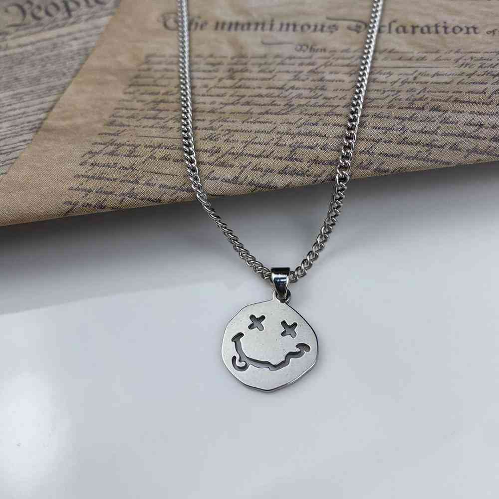 Smiley Face Necklace Goth Hip Hop Neck Chain
