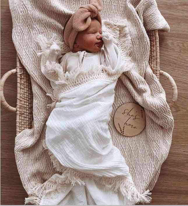 Muslin Cotton Baby Tassel Blankets Bath Towel