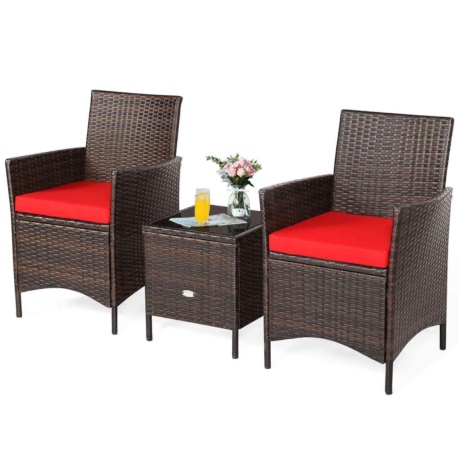 Rattan Furniture Set Cushioned Sofa Glass Tabletop Deck
