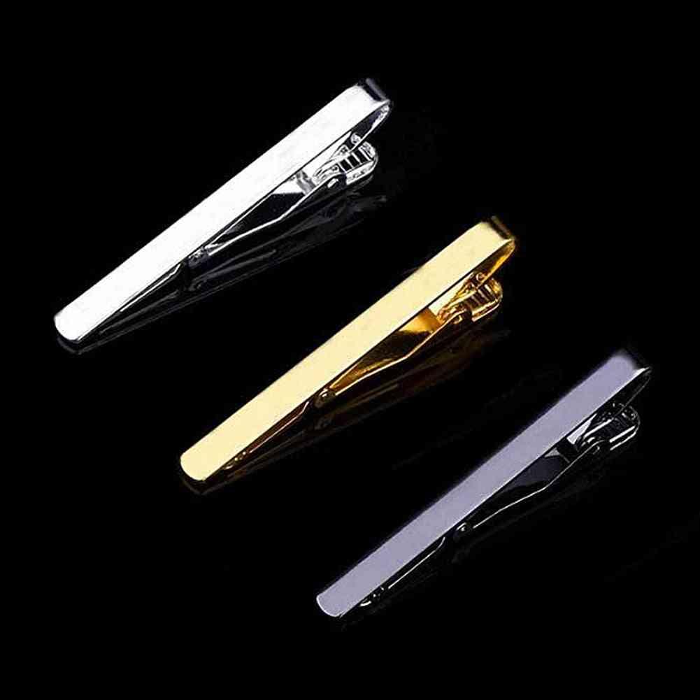 Tie Clips Men's Metal Necktie Bar Crystal Dress Shirts Tie Pin