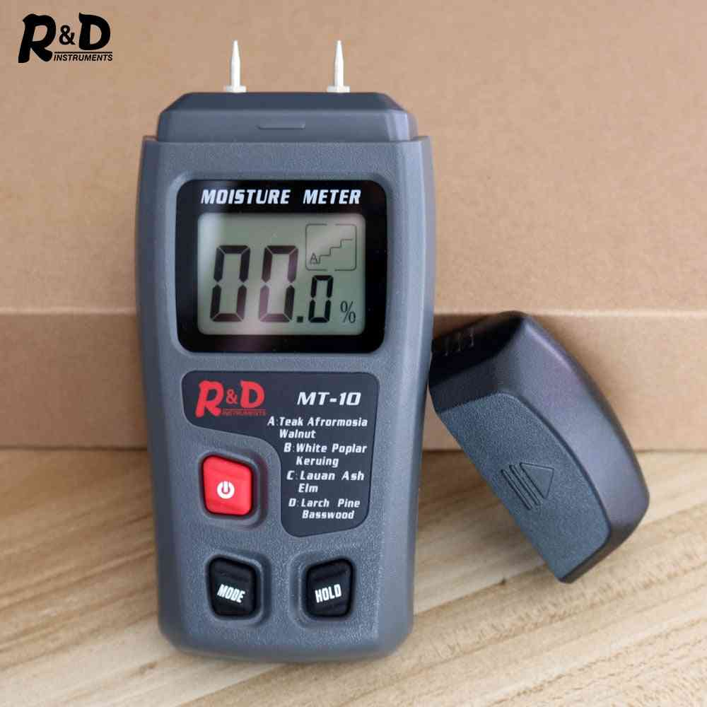 R&d Mt-10 Emt01 Wood Moisture Meter Wood Humidity Tester Hygrometer Timber Damp Detector Tree Density Digital Tester Grey