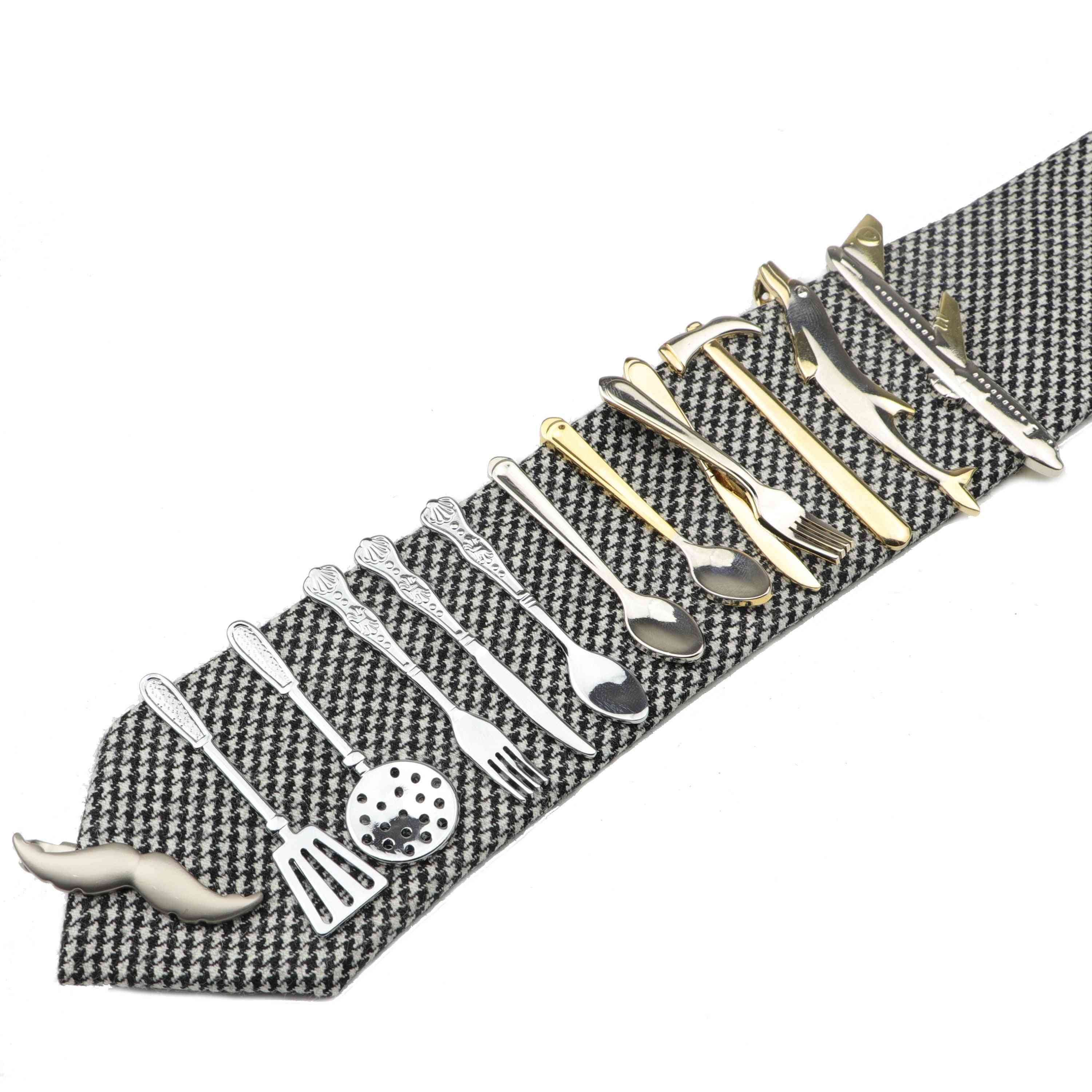 Stainless Glasses Car Airplane Fork Spoon Shape Metal Tie Clip