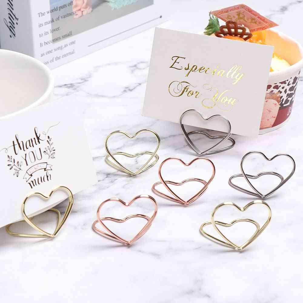 Romantic Heart Shape Metal Photo Clips, Wedding Place Card Holder