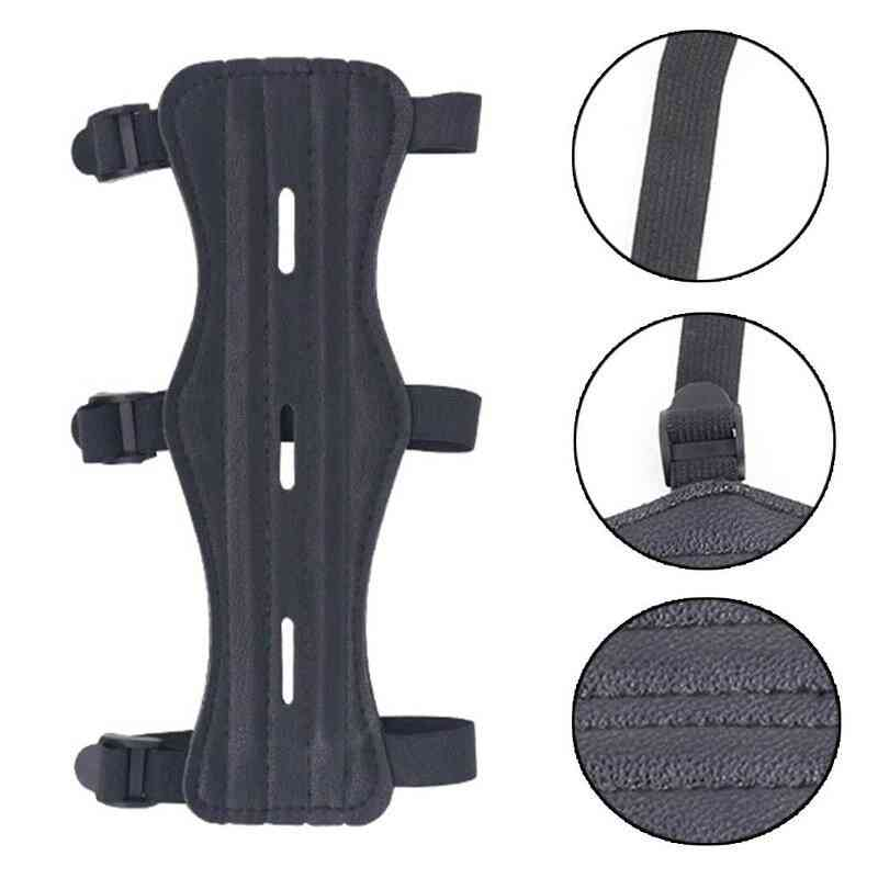 Archery Arm Protector Guard Cowhide Bow Shooting Arm Armband Straps