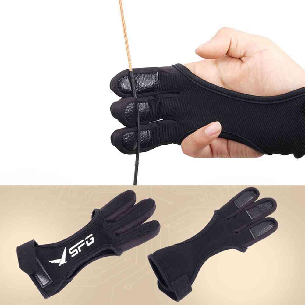 Finger Gloves Leather Guard Safety Archery Gloves