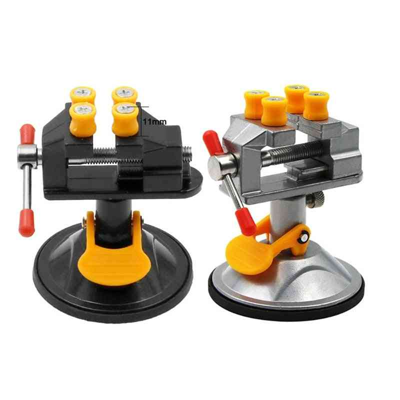 Adjustable Fixed Electric Small Table Bench Vise 360 ° Rotatable Grinder Rotary Hand Drill Suction Cup Fixed Frame Mini