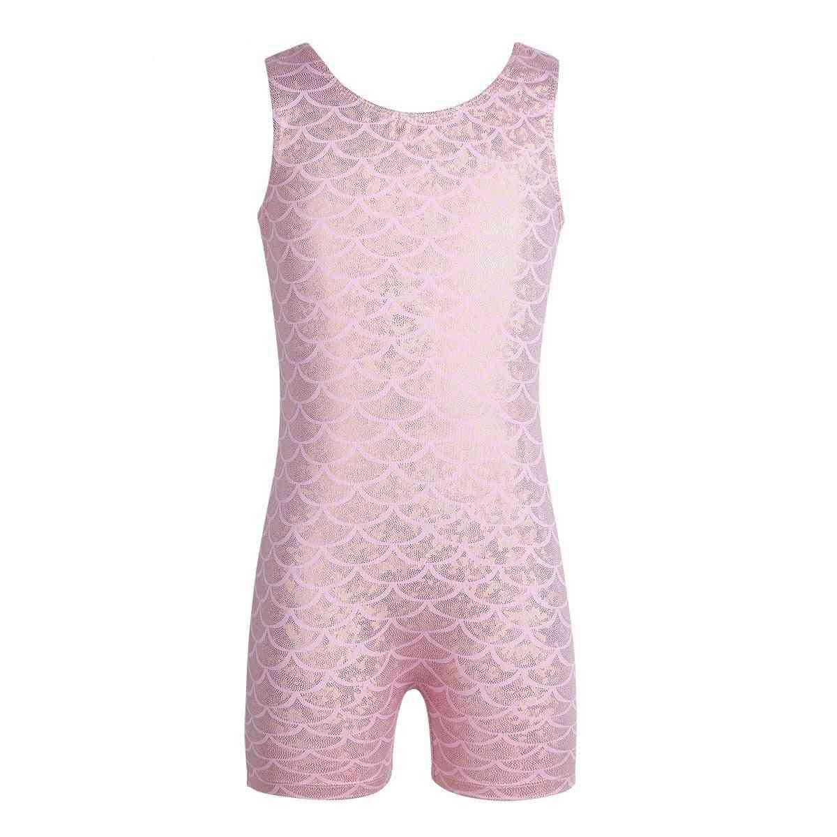 Swimwear Sleeveless Glittery Scales Printed Jumpsuit Dance Wear